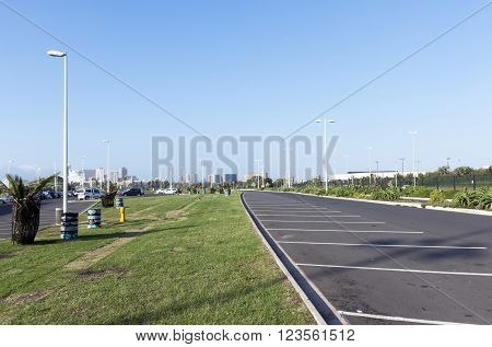 Scenic Grass-lined Parking Lot At Durban Beachfront