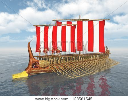 Computer generated 3D illustration with a galley of ancient Greece