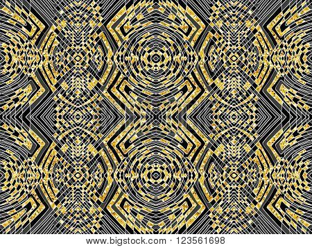Abstract tribal ornament. Golden glitter background. Black and gold pattern. Vector abstract texture can be used for web design wallpapers textile interior and printed products.