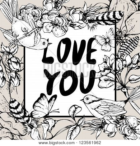 Black and white vintage garden spring greeting card. Blooming branches of cherry, apple trees, peach birds and butterflies, Love you vector botanical illustration. Floral design elements
