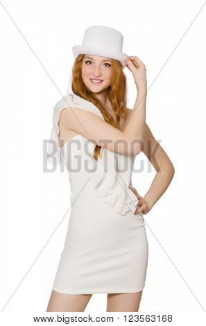 Young woman in hat and elegant dress isolated on white