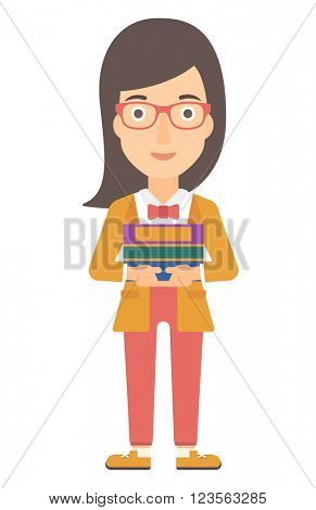 Woman holding folders.