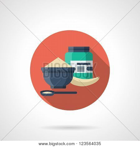Blue dish with cereal, banana and container with protein, whey or other sport supplement. Sport nutrition concept. Single detailed color vector icon. Web design element for business, site, mobile app.