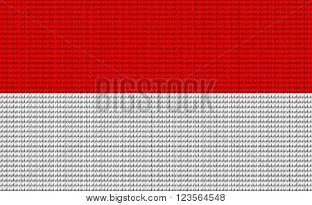 Indonesia red and white flag embroidery design pattern .
