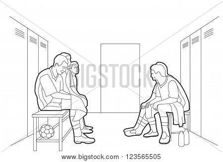 Team dressing room team sits in the locker room. Vector black illustration on white background.
