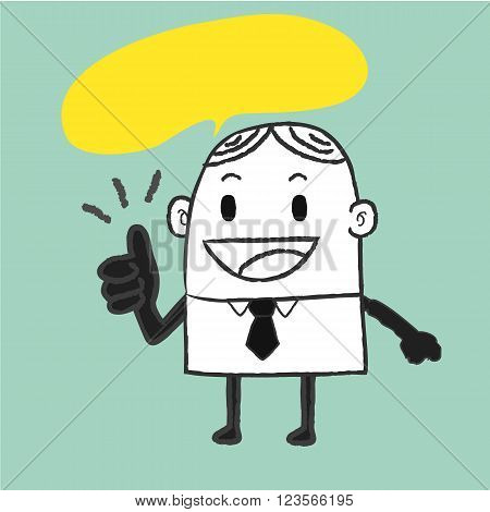 Businessman thump up , man and yellow speech bubble