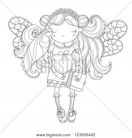 Vector cute princess fairy girl with wings in flower crown.Vector line illustration.Sketch for postcard or print or coloring adult book.Hand drawn free style.