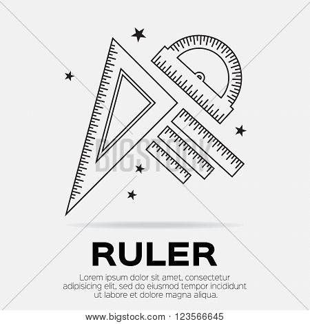 Ruler icon. Ruler symbol. Protractor. Office Supply Objects. Flat Vector illustration.