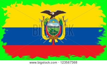 Flag of Ecuador painted with brush on solid background, ink texture.