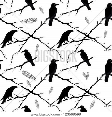 Seamless ravens, tree branches and feathers. Vector silhouette of a crows in different positions.