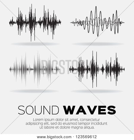 Vector music sound waves set. Audio sound equalizer technology pulse musical. Vector illustration