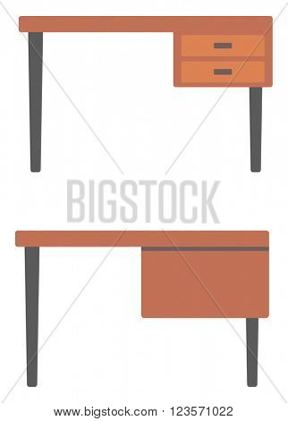 Wooden desk with drawers.
