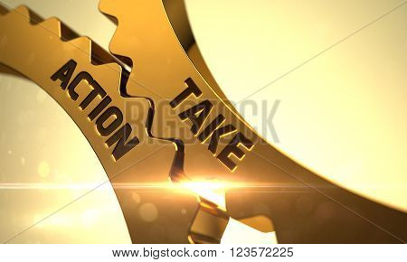 Take Action on Mechanism of Golden Metallic Cog Gears with Glow Effect. Take Action Golden Metallic Gears. Take Action - Illustration with Glowing Light Effect. 3D Render.