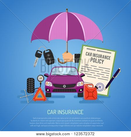 Car Insurance Concept for Poster, Web Site, Advertising like Umbrella, Policy, Key, Jerrycan and Manometer.