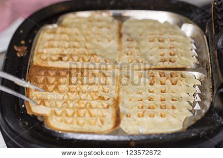 A Waffle in Waffle Iron close up