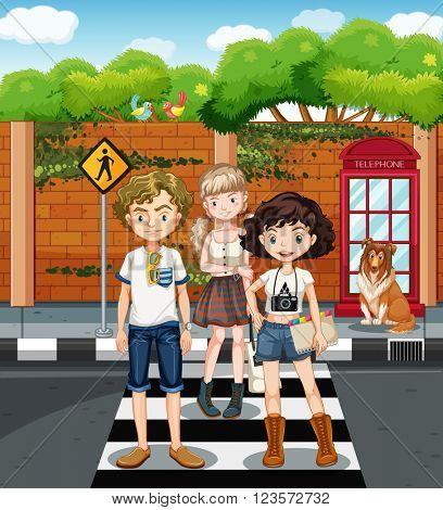 Teenagers standing on the zebra crossing illustration