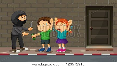 Children being robbed on the street illustration