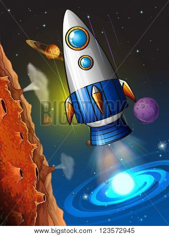 Rocketship flying around the planet illustration