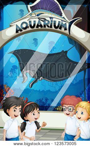 Students in uniform visiting aquarium  illustration