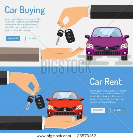 Rent amd Buying Car Banner for Poster, Web Site, Advertising like Hand, Car and Key.