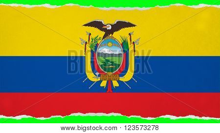 Flag of Ecuador painted on paper texture