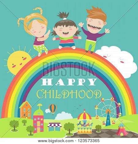 Happy children with rainbow and carousel. Vector illustration