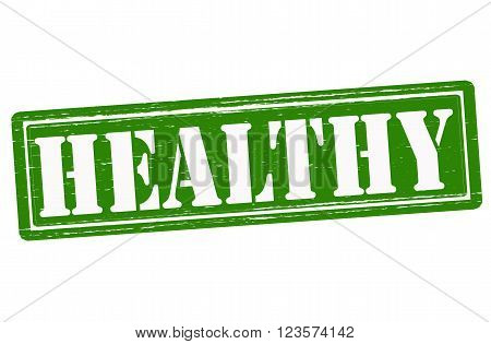 Stamp with word healthy inside, vector illustration