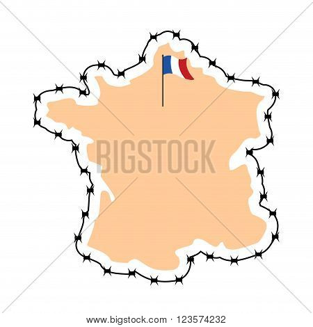 France Map. Map of states with barbed wire. Country closes border against refugees.