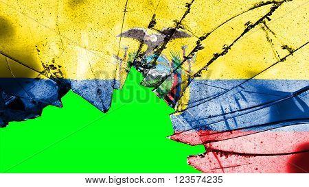 Flag of Ecuador painted on broken glass