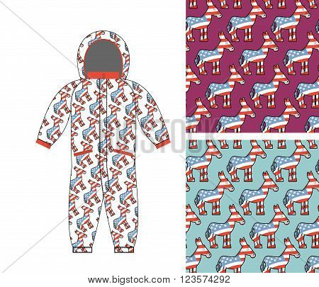 Democrat Baby Childrens Clothing. Democrat Donkey Seamless Pattern. Donkey Texture. Symbol Of Politi