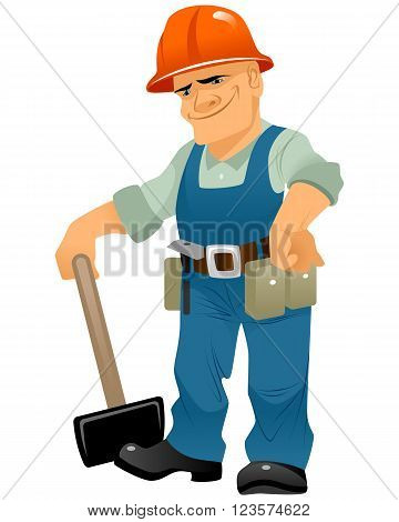 Vector illustration of a builder with maul
