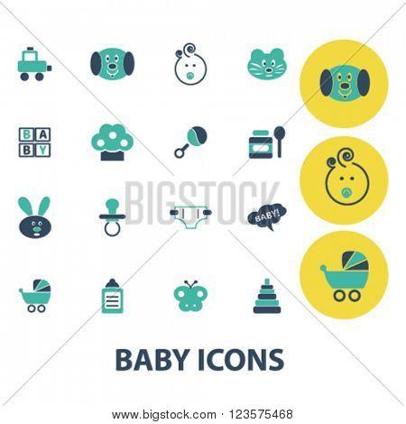 baby, kids, toys, children icons