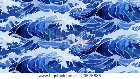 Deep blue storm waves. Watercolor ocean surface.  Sea water body. Tsunami. Vector seamless pattern