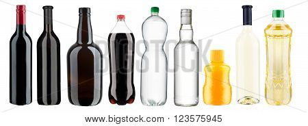 various bottles on a white background with clipping paths