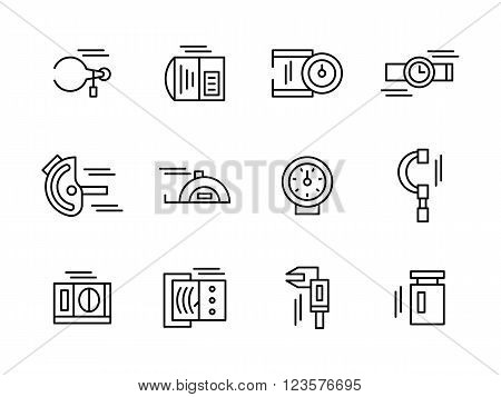 Objects and tools for measurement a variety of physical and mechanical quantities. Metrology and engineering.  Collection of black simple line style vector icons. Elements for web design and mobile.