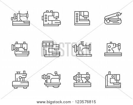 Tailor equipment. Sewing and stitching machinery. Dressmaking industry. Collection of black simple line style vector icons. Elements for web design and mobile.