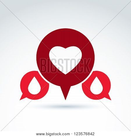 Vector illustration of red heart symbol with blood drops medical cardiology label blood donation symbol. Conversation on life and health theme.