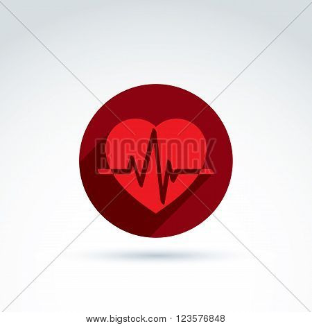 Vector illustration of red heart symbol with an ecg placed in circle heartbeat line medical cardiology label. Conceptual passion love icon.