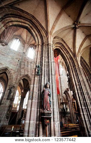 NUREMBERG GERMANY - JUNE 20: Interior of St. Lorenz (St. Lawrence) church on june 20 2013 in Nuremberg Germany.