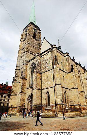 PLZEN CZECH REPUBLIC - JUNE 5: Cathedral of St. Bartholomew on the Republic square on june 5 2013 in Plzen Czech republic.
