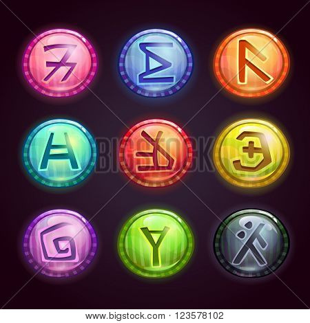Shiny round colorful buttons with fantastic symbols on dark background. Vector elements for game design