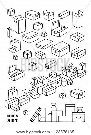 Box set. Collection with different boxes. Doodle.