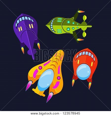 Four Colorful Spaceships Isolated Vector Illustration In Cartoon Style On Black Background