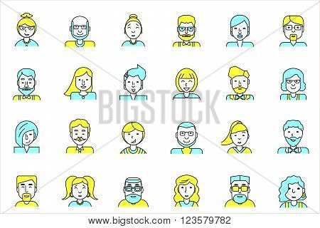 Set of avatars. Flat style. Line colorful icons collection of people for profile page, social network, social media, website and mobile website apps. different age, professional human occupation.