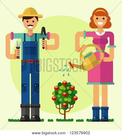 Vector flat style illustration of smiling boy and girl taking care of garden with shovel, pruner, watering can. Girl watering the rose bush. Gardening and agriculture concept.