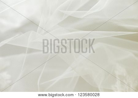 Transparent ivory wedding tulle or chiffon background