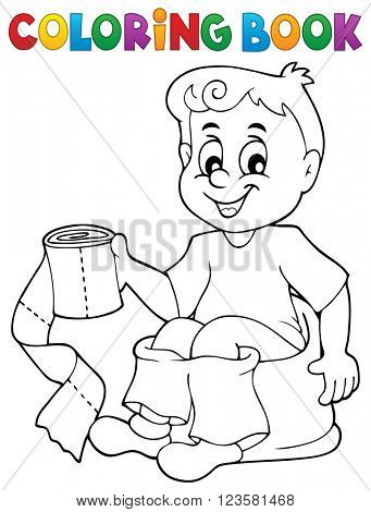 Coloring book boy on potty - eps10 vector illustration.