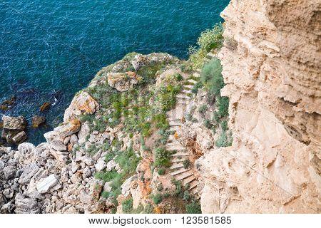 Coastal Cliff With Stone Stairway. Bulgaria