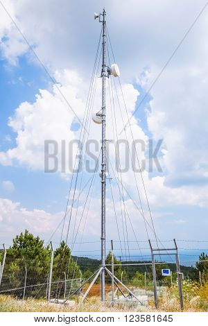 Telecommunication Radio Tower With Devices