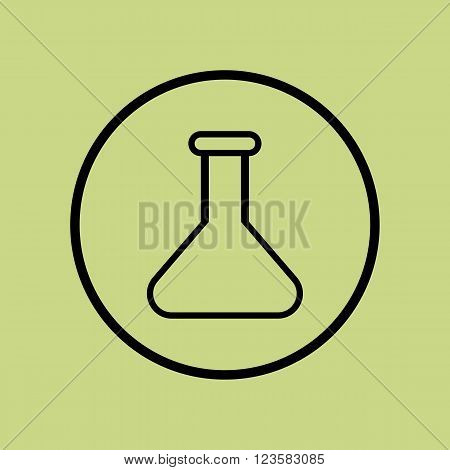 Flask Icon In Vector Format. Premium Quality Flask Icon. Web Graphic Flask Icon Sign On Green Circle